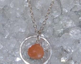 Sterling Silver Peach Moonstone Drop Pendant