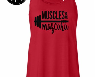 Workout tank top workout tee workout womens MUSCLES & MASCARA tank top Workout shirt burpee squats fitness shirt womens workout tank