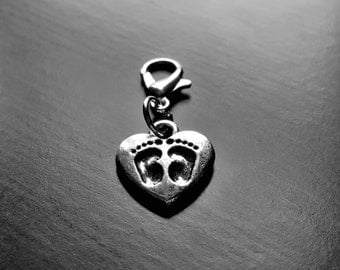Baby Feet Dangle Charm for Floating Lockets, Necklaces, Bracelets or Zipper Pulls-Antique Silver-Gift Idea