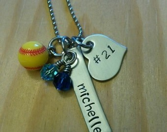 Hand Stamped Personalized Softball Necklace - with Team Colors - softball Team gift