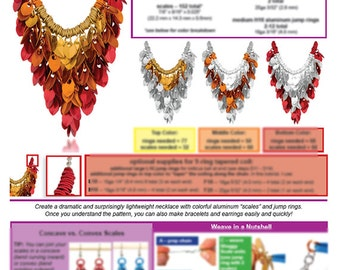 Chainmaille Tutorial - Elemental Leaves Scallemaille Necklace (Beginner) - PDF