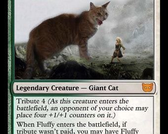 YOUR PET on a Magic the Gathering Customized Foil Card: Beast Token or Legendary Creature