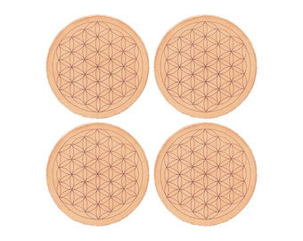Handcrafted Leather Coasters / Sacred Geometry Coaster Set / Handcrafted in Portland, Oregon.