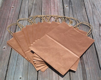 "100 Pack - Rose Gold Gift Bags with Handles- Wedding Welcome Bags - 8""x4""x10"" Metallic Copper Rose Gold"