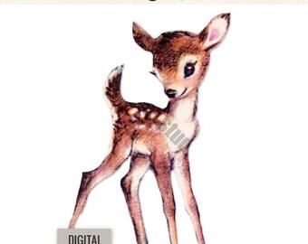 Digital Vintage Image Clipart, Fern Fawn Woodland Deer