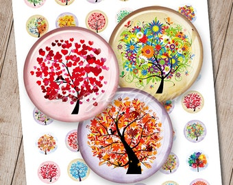 Tree of Life round digital collage sheet graphics pendant download cabochon 20mm 18mm 16mm 14mm 12mm printable circles art bottle cap images