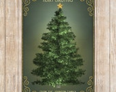 CHRISTMAS TREE CARD - Chalkboard Design Christmas Card - Green Chalkboard - Christmas Tree, Star, Personalized Instant Download