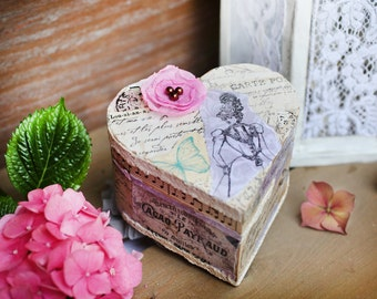 Romantic decoupaged heart box, Wooden box for jewellery, Heart box, Decoupaged box, Shabby chic heart box