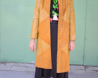 Vtg 60s Curry Yellow Leather Coat ~ Mustard Suede and Leather Jacket ~ Sz Small