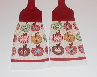 Hanging Kitchen Towels, Hanging Dish Towels- Set of 2 - Apples