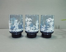 Libbey glasses - Libbey glassware - Mary Gregory images - blue glass tumblers - Kitchen decor - blue drinking glass - white image