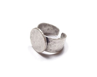 2 Pieces Adjustable Ring Blank, (20 mm blank) Antique Silver Plated Brass - BRS010-B