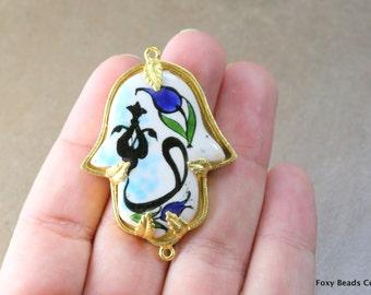Hand Painted Traditional Turkish Cini Ceramic Hamsa Connector, Ceramic Hand of Fatima. One of a kind. CF038