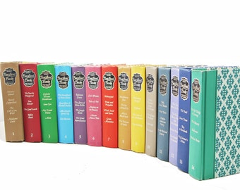 Complete Book set, Rare BEST LOVED BOOKS Book Collection, Decorative Books Readers Digest Old Books, Instant Library, Green Blue book stack