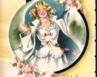Vintage Happy Birthday Daughter greeting card digital download printable instant image
