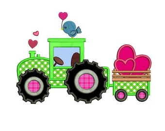 Tractor With Hearts Applique Machine Embroidery Digitized Design Pattern- Instant Download -  4x4 , 5x7, and 6x10 hoopss