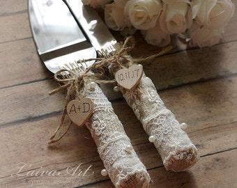 Rustic Wedding Cake Server Set & Knife Rustic Wedding Cake Server Country Wedding Burlap Wedding