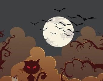 4x5 Halloween Graveyard Backdrop With Cat and Full Moon Photography Backdrop - 4x5 ft (FV9021)