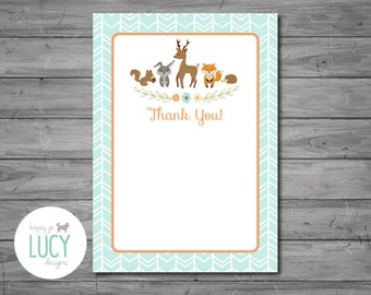 PRINTED, Woodland Thank You Card, woodland baby shower, thank you card, woodland theme, baby shower, thank you