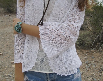 Vintage 60s Cotton Crochet Jacket