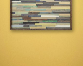 Large Reclaimed Wood Wall Art in Blues and Greens, 44 x 32