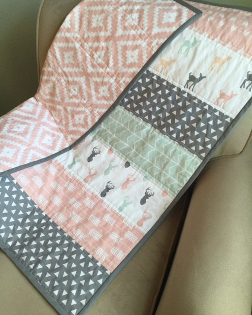 Woodland Baby Blanket Baby Quilt Modern Quilt Pink Gray