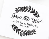 Save the Date Stamp, Wedding Stamp with Wreath, Save the Dates, Wedding Stamp With Names and Date, Custom Save the Date Stamp Style No. 60W
