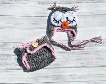 Crochet Baby Set, Sleepy Owl Hat, Owl Earflap Hat, Newborn Owl Hat, Baby Owl Outfit, Baby Girl Owl, Pink Ow Oufit, Newborn Owl Photo Prop