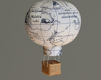 Travel Nursery Decor, Hot Air Balloon, Nursery Decor, Baby Gifts - Navy Map