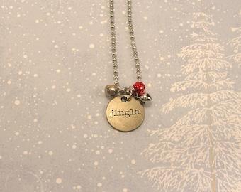 SALE! Jingle Necklace, Jingle Bells, Winter, Tim Holtz Tag, Red