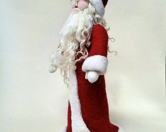 Father Christmas, Santa Claus Figurine. Large Needle Felted Figure, Christmas Decoration, Christmas Ornament.