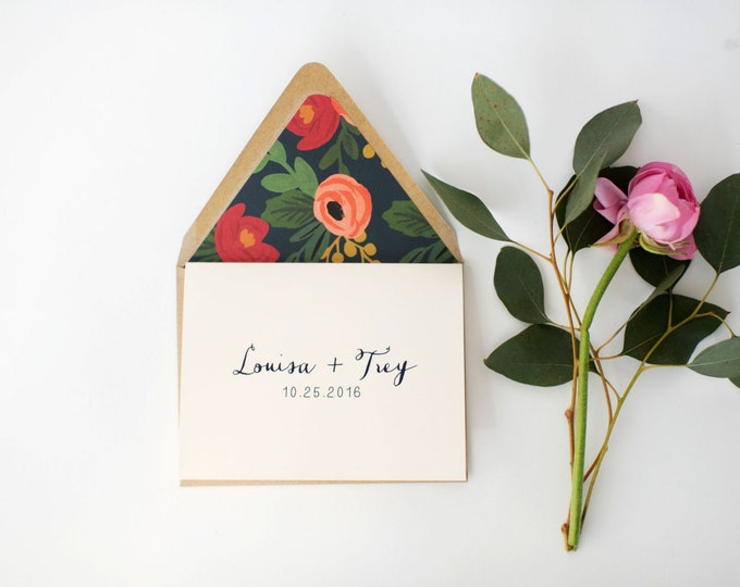 louisa personalized thank you cards +  lined envelopes (sets of 10) // wedding thank you cards // lola louie paperie