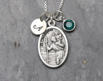 Saint St Christopher Guardian Angel Reversible Necklace - Personalized Initial - Swarovski Crystal Birthstone or Pearl - Patron Safe Travel