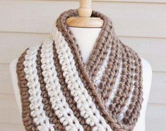 Crochet Silky Soft, Heavy Mobius Scarf in Tan and Cream for Fall or Winter