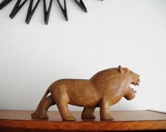 "Vintage Lion carving/ hard African wood/  9.5"" in length"