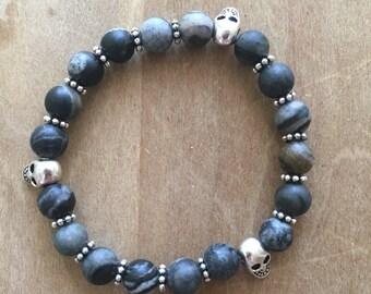 Semi Precious Stone & Skull Bracelet