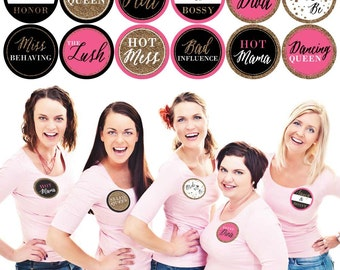 Girls Night Out - Bachelorette Party Name Tags – Party Badges Sticker - Funny Bachelorette Name Tag Stickers - Set of 12