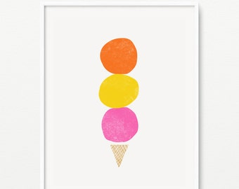 Ice cream giclee print- Kids room decor- Wall art for children- (A-305)