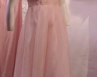 1950 powder pink chiffon prom dress