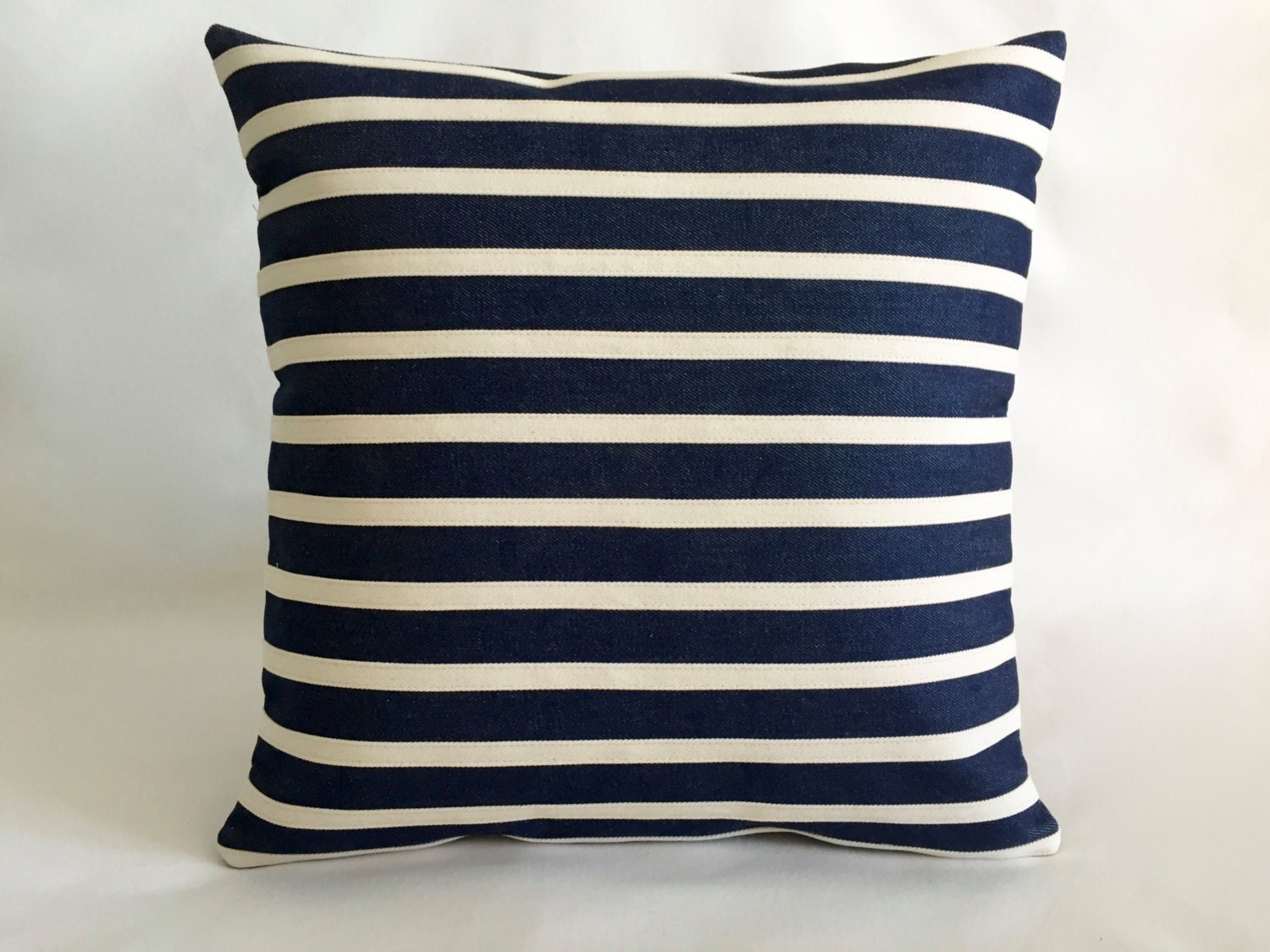 Outdoor and indoor Pillows Navy blue denim with Stipes