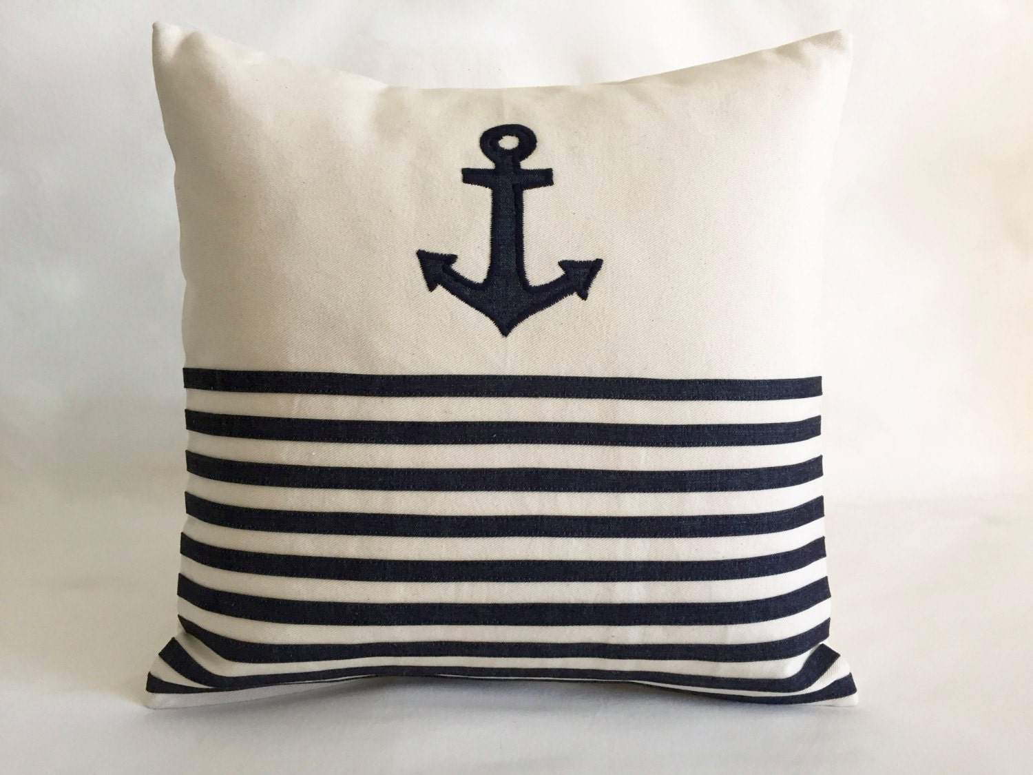 Nautical Throw Pillows Anchor Cover Cushion Navy blue stripes