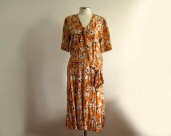 1920s Dress / 20s Dress / Orange Floral Silk / Novelty Print Silk Dress / SMALL