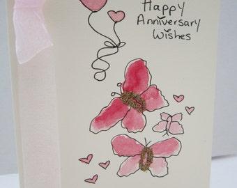 Anniversary Butterflies, watercolour card, handpainted card, daughter anniversary, son anniversary, wife anniversary, husband anniversary