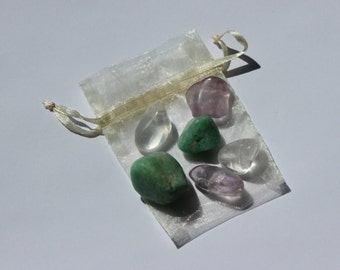 Communication - Healing Crystals Pouch - 6 tumbled stones - Reiki Charged - Gifts - Speaking