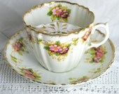Gentleman's Moustache Tea Cup and Saucer - Large Breakfast Cup with Mustache Guard - Park Place China Reid and Co Made in England C.1913-21