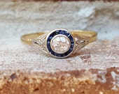 Vintage Antique Art Deco Old European Diamond Sapphire Halo Engagement Ring in 18k Gold and Platinum Size 10