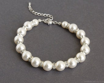 Bridal pearl bracelet wedding bridal bracelet crystal rhinestones  classic wedding jewelry Swarovski white pearls, Silver bridal jewelry CBC