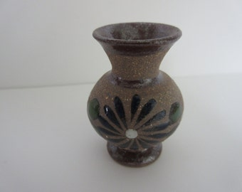 Miniature Hand-Painted Pottery Vase - Tan and Cobalt