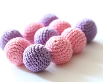 Crochet beads 22 mm 5 PC / Choose color / Safe for teething