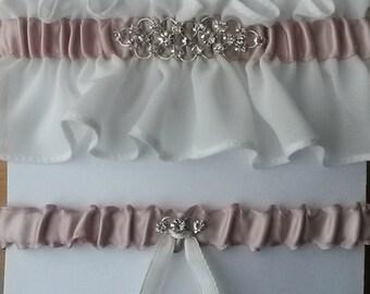 Ivory and Blush Pink Garter Set